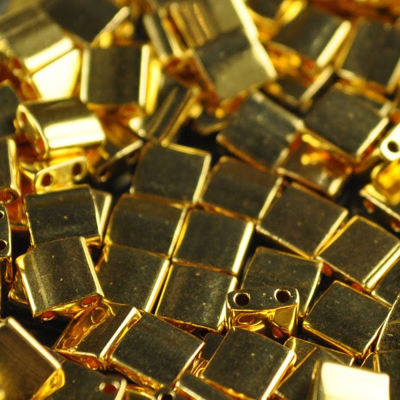 TL0191 Miyuki TILA - 2 Hole Japanese Flat Square - Opaque Metallic Bright Gold