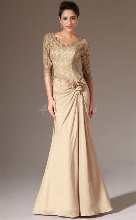 Long Mermaid Chiffon and Lace Gold Bridesmaid Dress with