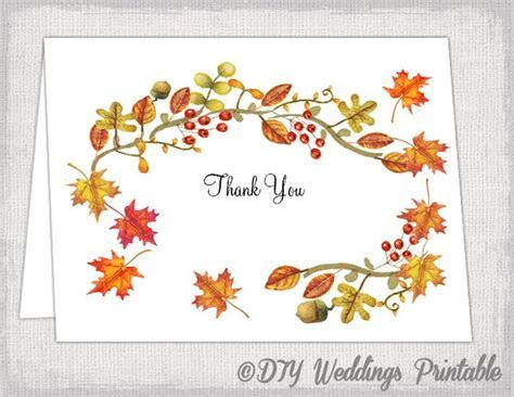 Thank you card template Autumn wedding template
