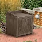 Suncast 22 Gallon Java Resin Wicker Small Storage Seat Deck Box, Brown