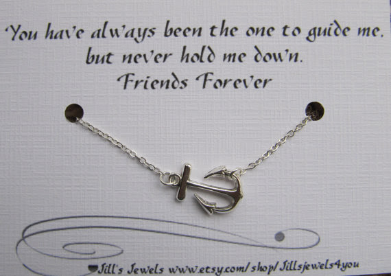 Best Friend Anchor Charm Necklace And Friendship Quote Inspirational