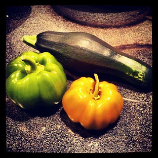 Green pepper, orange pepper and zucchini #containergarden #igrewit #food #salad #fresh #picked