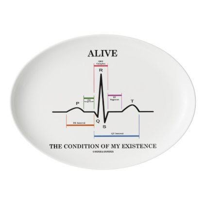 Alive The Condition Of My Existence ECG Heartbeat Porcelain Serving Platter