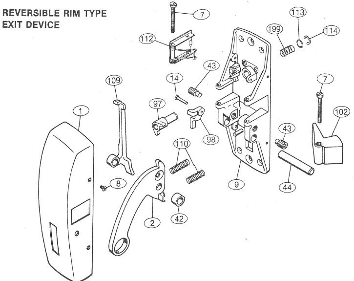 Wiring Diagram  33 Panic Bar Parts Diagram