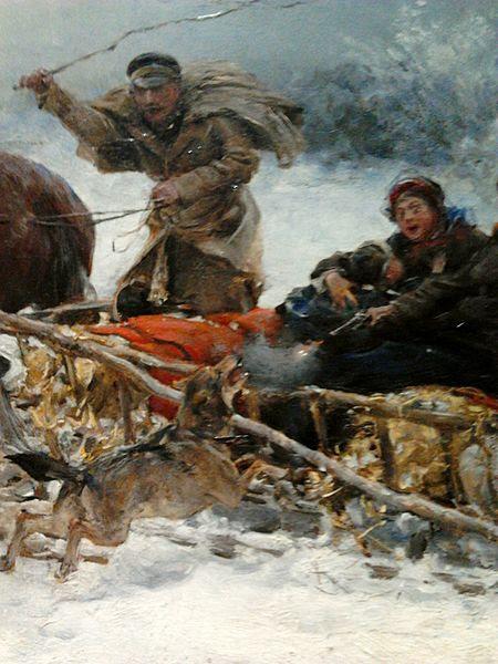 File:Wierusz-Kowalski Wolves attacking sleigh cart (detail).jpg