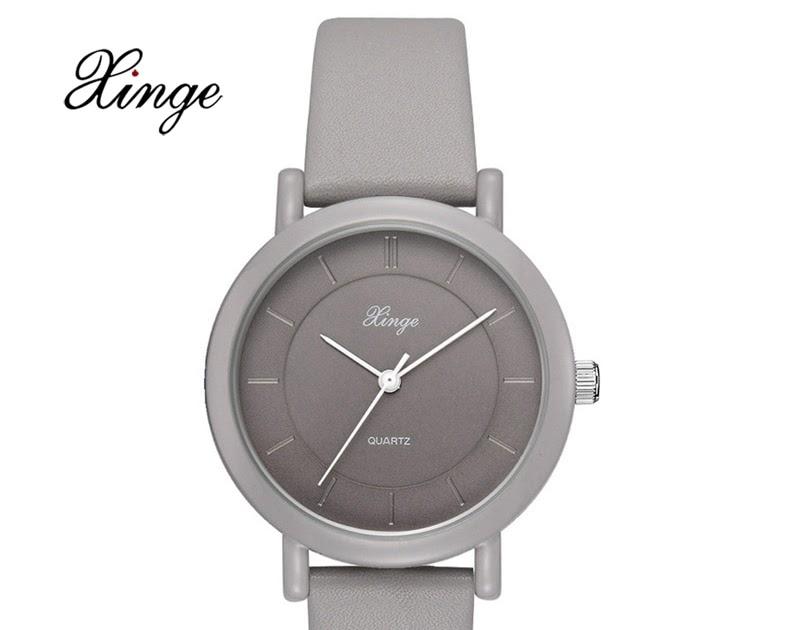 16a197e1195 Comprar Xinge Marca Relógios De Quartzo Para As Mulheres Cinza Pulseira  Couro Senhoras Luxo Vestido Relógio Pulso Relogio Feminin Baratas Online  Preço ~ ...
