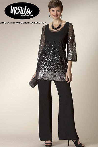 elegant evening pant suits ursula chiffon  sequin pc