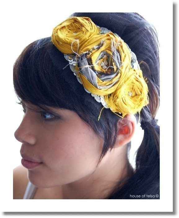 INTERTWINED headpiece mustard yellow and silver silk dupioni Rosettes dress fascinator vintage rhinestones black ... by Houseoftelsa