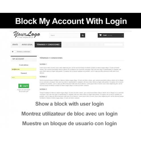 Block my account with login - Prestashop modules | templates