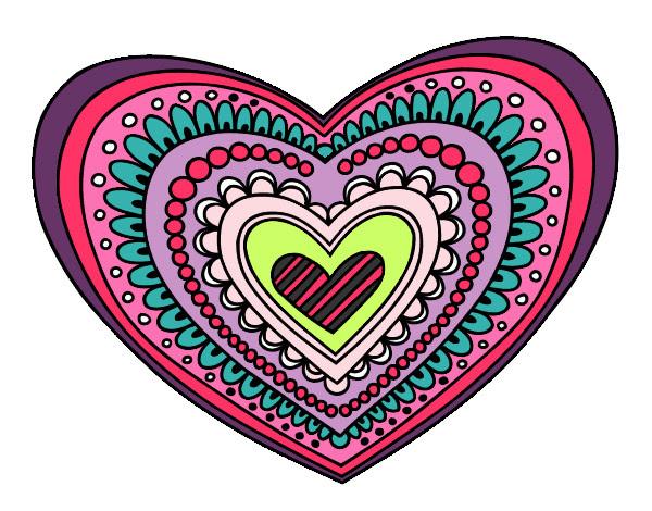 Dibujo De Mandala Corazón Pintado Por Anloca En Dibujosnet El Día