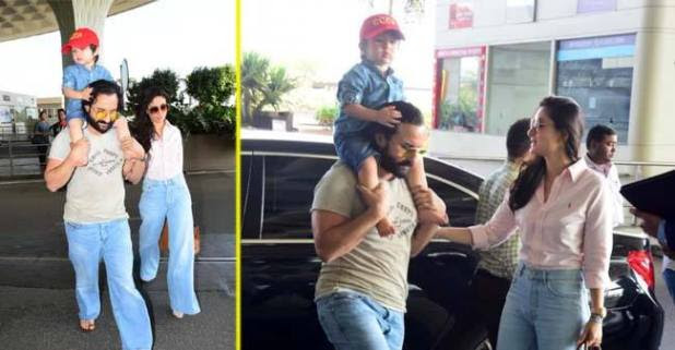 Bebo & Saif twinned in denim bell bottom jeans for their airport look
