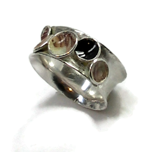 Silver and  Enameled Ring | Laura Stamper Designs/Art jewelry/Minnesota