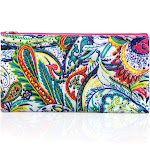 """Zodaca Women Pencil Case Toiletry Holder Cosmetic Bag Travel Makeup Zip Storage Organizer for Travel Camping (Size: 5.5"""" L x 10"""" W x 0.3"""" H) -"""