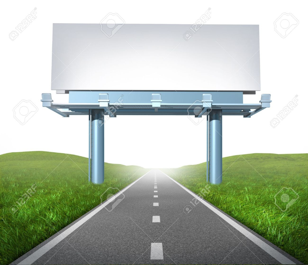 Blank Highway Billboard Sign In An Outdoor Display Showing A ...