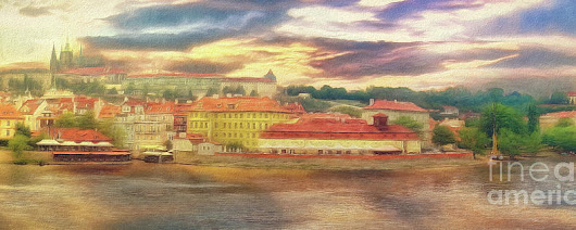 Across The River - Riverside Panorama Prague by Leigh Kemp