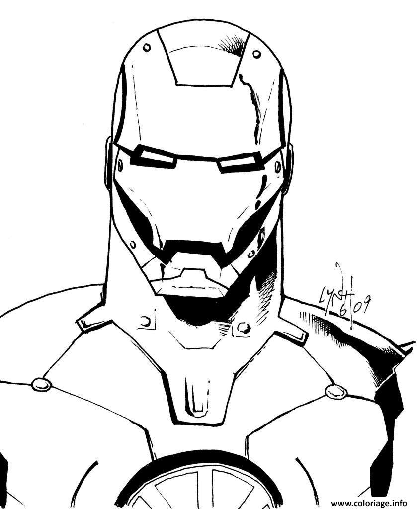 Coloriage Avengers Iron Man Portrait Visage Robot Dessin  Imprimer