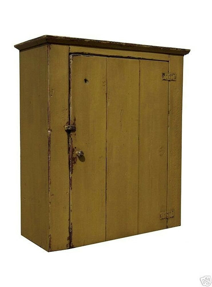 FARMHOUSE WALL CABINET PRIMITIVE PAINTED PINE FURNITURE ...