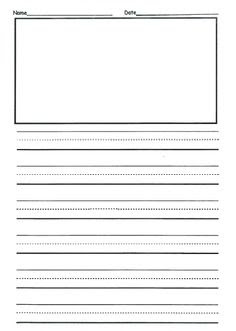 first grade writng paper template with picture | Journal Writing ...