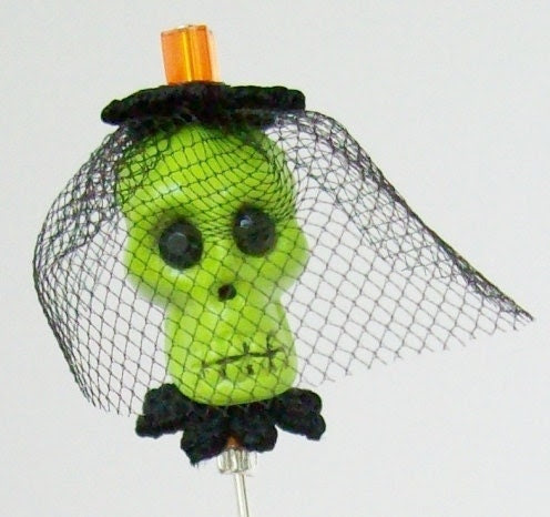 Neon Green Skull Stick Pin With Mourning Veil  'Envious Eleanor'