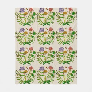 Botanical Illustration on Fleece Blanket