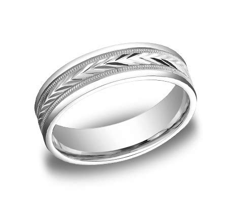 BENCHMARK Rings 14k White Gold Arrow Design Mens Wedding Band