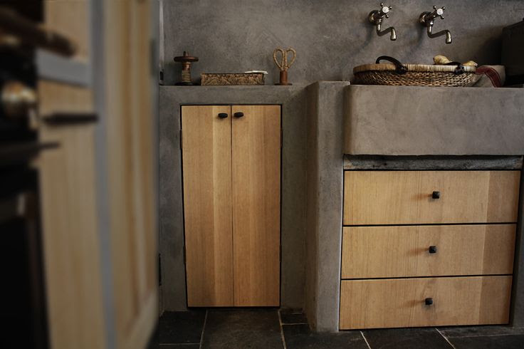 linenandlavender.net :  slab doors open to our coffee cupboard, stone concrete prep sink area - from our digital magazine - Volume No. 01 ~ Issue 03 http://glossi.com/linenlavender/28349-linenandlavendernet-volume-no-01-issue-03