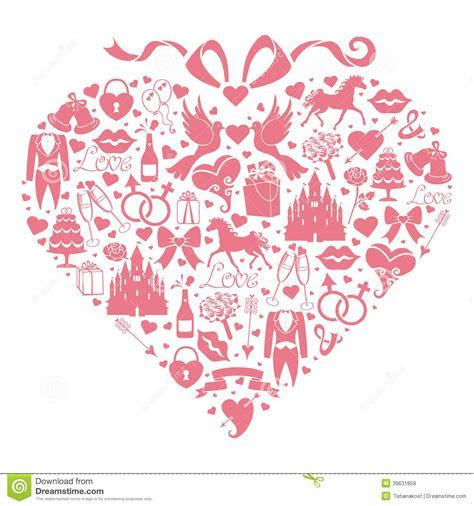 Hearts Composition Of Wedding Design Icons For We Stock