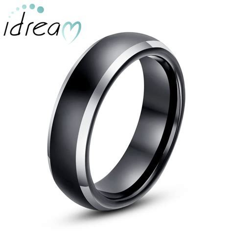 Two Tone Tungsten Wedding Bands, Domed Black / Gold