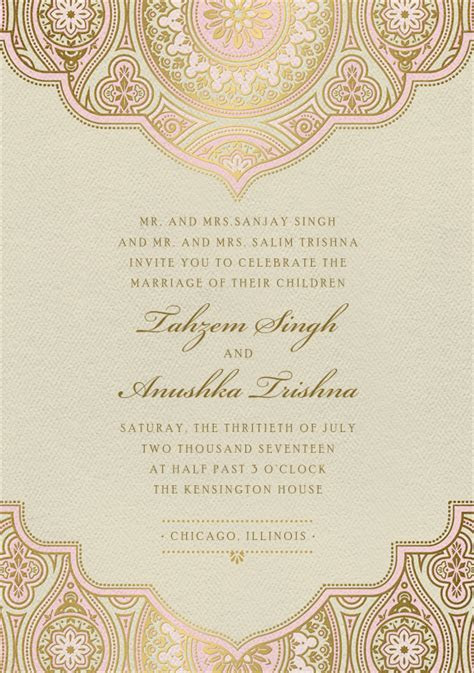 Indian Inspired Invitations in Pink   Wedding Invites