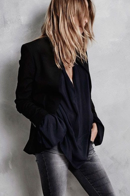 Le Fashion Blog Hunky Dory FW AW 2015 Lookbook Blazer Crepe Silk Shirt Dark Wash Skinny Jeans Fall Winter Style