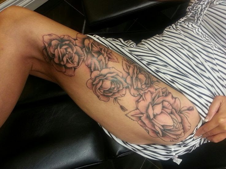 Pictures Of Rose Thigh Tattoos For Females Rock Cafe