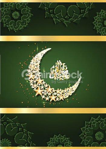 Estrellas Brillantes En Forma De Media Luna Con árabe Caligráfico De