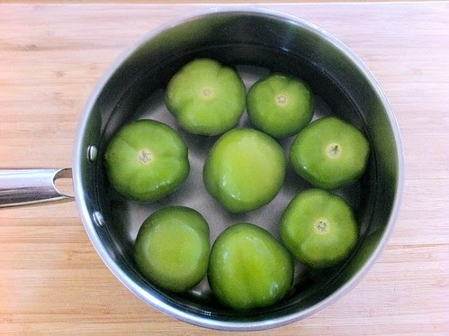 Tomatillos in a Medium Pot with Water