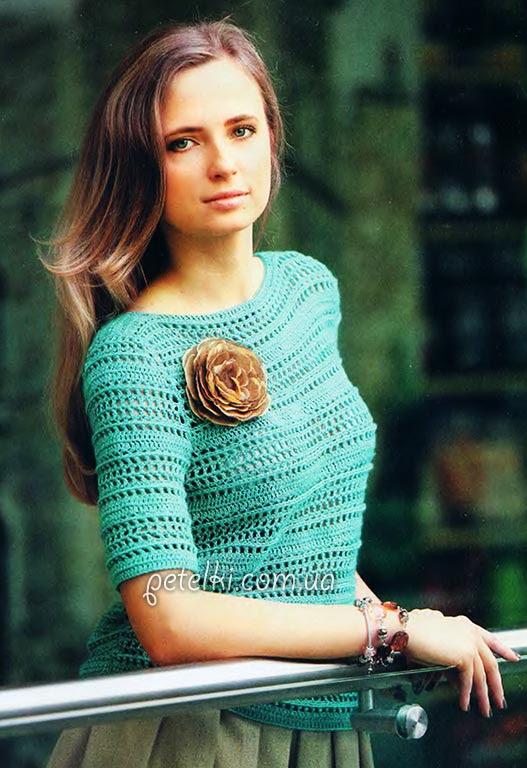 Suéter crochet calado Esmeralda.  Descripción, esquema, patrón