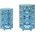 Outdoor Best Selling Home Dandelion Floral Iron Patio Side Table Set