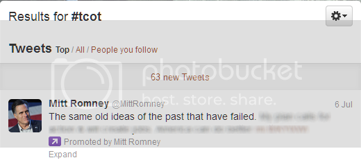 Promoted tweet from Willard, beginning 'The same old ideas of the past that have failed.'