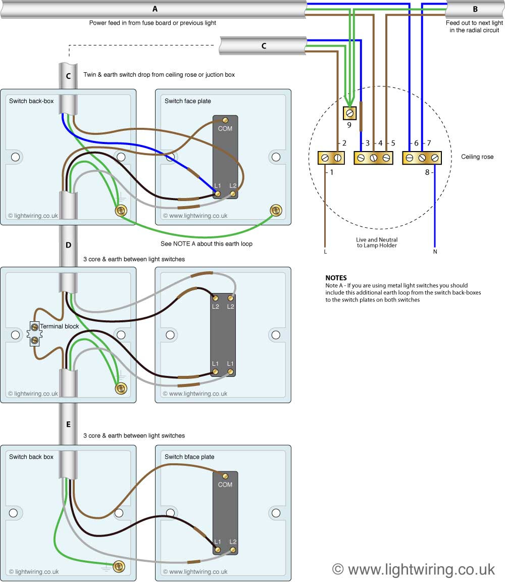 3 Way Light Switching New Cable Colours Light Wiring