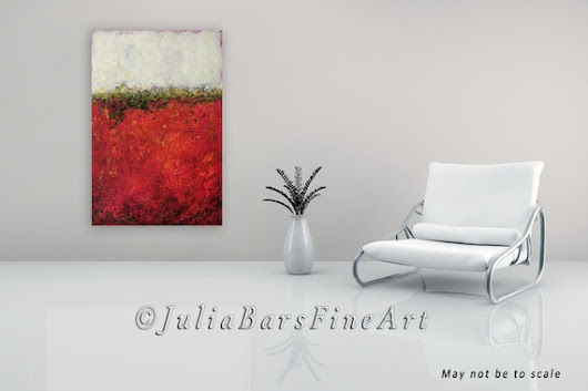 Red Painting Large Abstract Painting White by JuliaBarsArt on Etsy