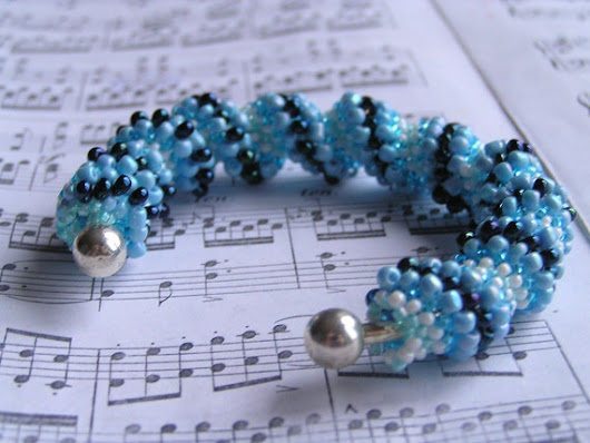 Blue dark blue white beaded handmade bracelet by necklacewithlove