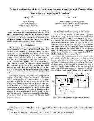 Active clamp forward converter thesis proposal