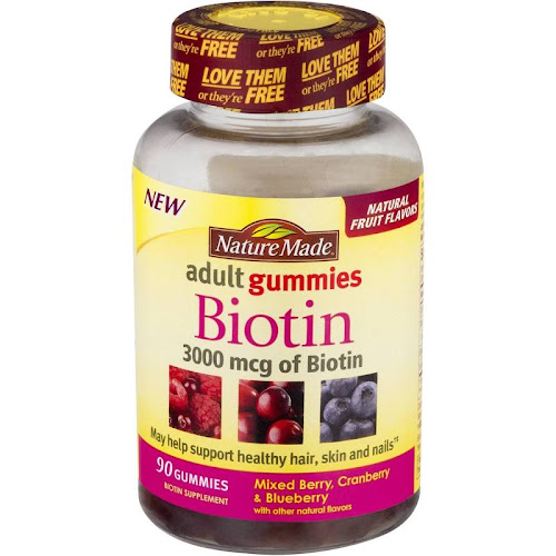 Nature Made Biotin, 3000 mcg, Adult Gummies, Mixed Berry, Cranberry & Blueberry - 90 gummies