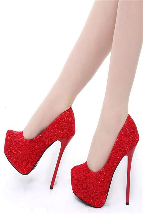 2016 Vintage Lace Wedding Shoes Cheap Best Red Bridal