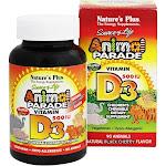 Nature's Plus Source of Life Animal Parade Vitamin D3 500 IU-Black Cherry - 90 - Chewable