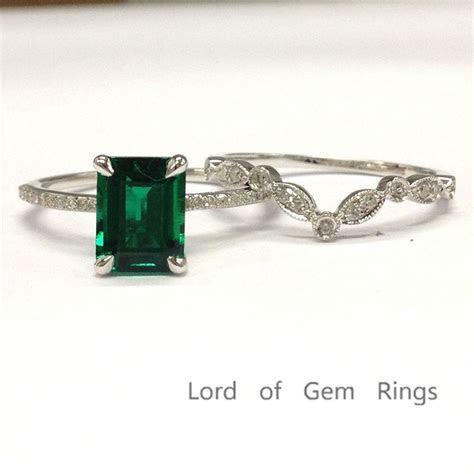 Emerald Shape Emerald Ring Sets Pave Diamond Art Deco Band