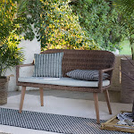Coral Coast Pruitt Resin Wicker Outdoor Bench with Cushion, Size: 4 ft.