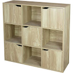 Home Basics 9 Cube Wood Storage Shelf with Doors, Natural