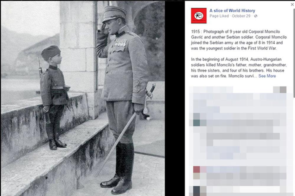 Momčilo Gavrič najmladji vojnik foto Facebook