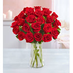 Flower Delivery by 1-800 Flowers Two Dozen Red Roses with Clear Vase