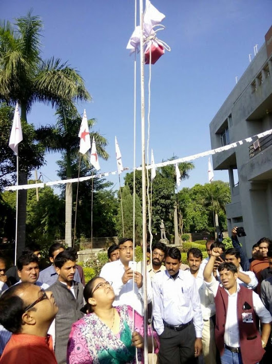DYFI white flag hoisted at Chandigarh Political Class on DYFI Foundation Day