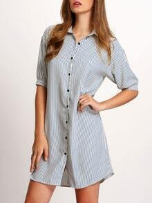 Blue Buttoned-down Vertical Striped Shirt Dress
